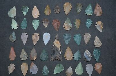 """44 PC Flint Arrowhead Ohio Collection Points 1-3"""" Spear Bow Stone Hunting 2769"""