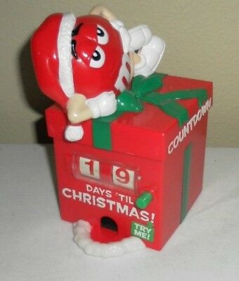 M&M's Christmas Candy Countdown Calendar Candy Dispenser Santa Red