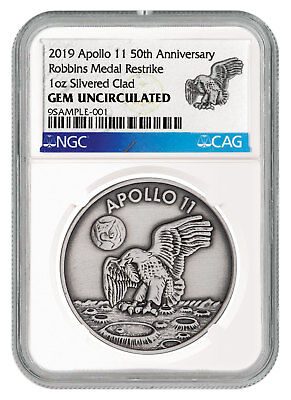 2019 Apollo 11 Robbins Medal 1 oz Silver-plated Antiqued NGC Gem Unc SKU55125