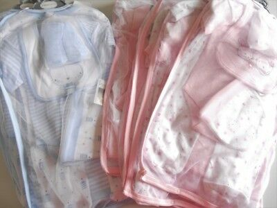 7 brand new baby 7 piece layette mix 0-3 and 3-6 months pink blue 100%cotton