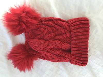 BABY GAP RED Cable Knit Winter Hat With Pom Poms -  7.20  8007085f395