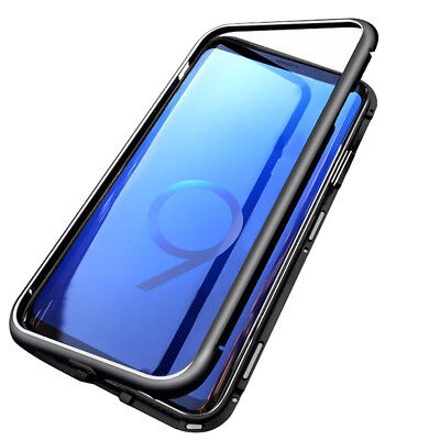 For Samsung Galaxy S9 Magnetic Adsorption Metal Flip Tempered Glass Case Cover