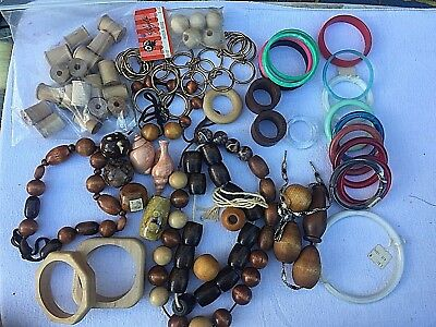 Vintage macrame craft beads shells rings