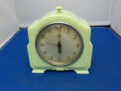 Vintage Antique Smiths green Bakelite mantle Clock Made in England Art deco