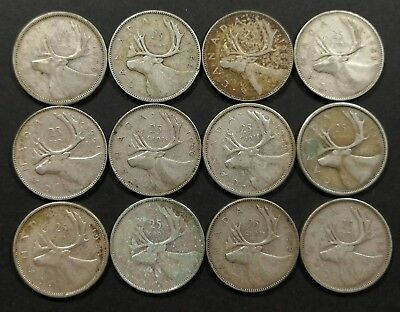 Lot of 12 VG to AU 1950's Canadian 80% Silver Quarters Coins