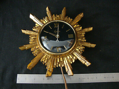 Vintage SYROCO Small Starburst Electric Wall Clock - WORKS, AS IS