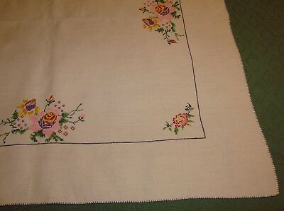 "Vintage Linen Cross Stitch Luncheon Tablecloth - Flowers - 33"" Square"