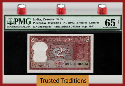 "TT PK 53Ae 1997 INDIA 2 RUPEES ""GROWLING TIGER"" PMG 65 EPQ GEM UNCIRCULATED!"