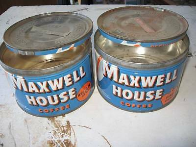 MAXWELL HOUSE BLUE 1 LB Coffee Can w/ Lid~FREE SHIPPING~BOGO, 2 FOR 1