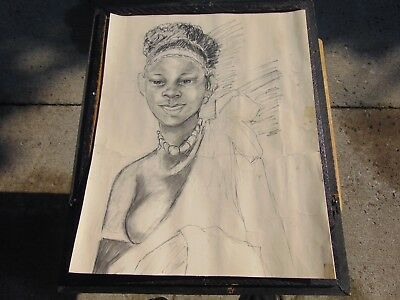 Vintage Original Charcoal Pencil Drawing ....a Beauty