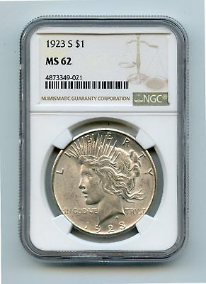1923-S Silver Peace Dollar (MS62) NGC
