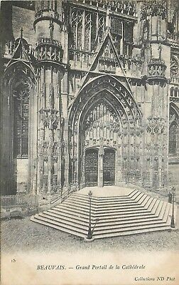 Cp Beauvais Grand Portail Cathedrale Nd
