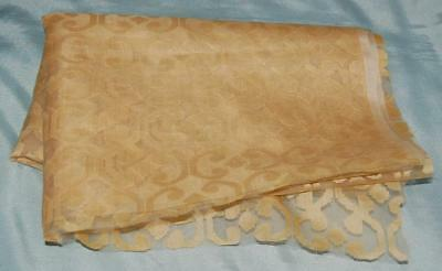 "Vintage Sheer Silk Fabric Woven Design 74""x 28"" Gold Design Craft c1960-70"