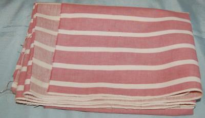 "Vintage Flanalette Fabric White Dark Pink Wide Stripes 54"" x 42"" c1950-60s"