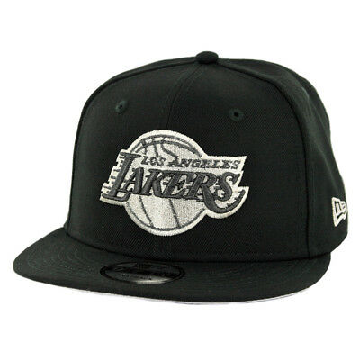 New Era 9Fifty Los Angeles Lakers Snapback Hat (Black Metallic Silver) Men s 83be0f47edaa