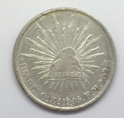 Mexico 1905-Zsfm Silver Peso About Uncirculated Km#409.3