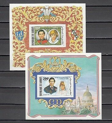 Djibouti, Scott cat. 529-530. Diana`s Royal Wedding IMPERF Deluxe s/sheets.
