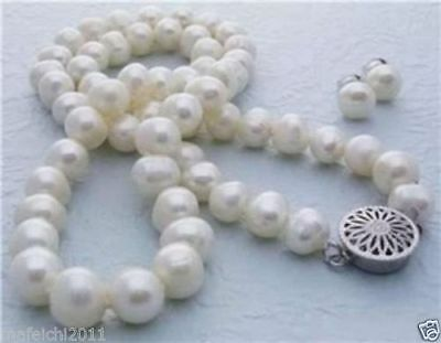 """Genuine 8-9MM White Akoya Cultured Pearl necklace earrings set 18"""""""