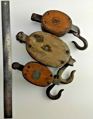 Vintage Antique Wood Block & Tackle Pulley lot farm marine