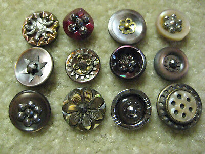 Lot Of Sweet Small Antique/ Victorian Pearl/ Shell Buttons/ Cut Steels