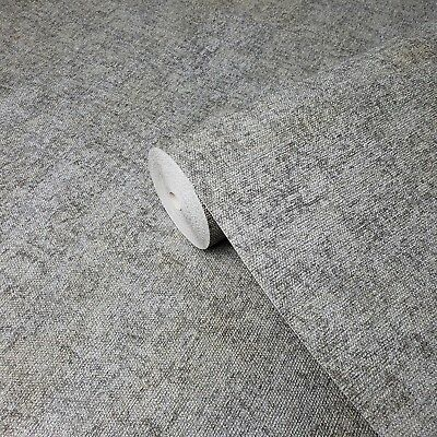 Wallpaper rustic gray faux vintage textile Textured Plain Modern wall coverings