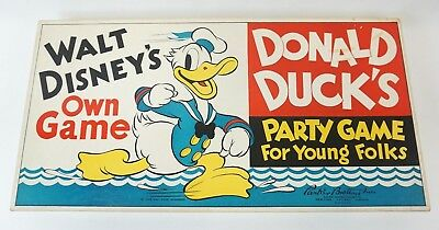 1938 VINTAGE Walt Disney Enterprises DONALD DUCK'S PARTY GAME EXCELLENT! ANTIQUE