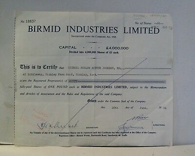 1956 SHARE CERTIFICATE FOR SHARES IN Birmid Industries Ltd