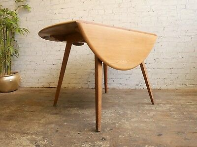 Vintage 60s Retro Mid Century Ercol Windsor Round Drop Leaf Dining Kitchen Table