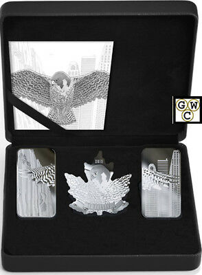 2019 'Wings of Hope' Shaped Set of 3 Proof Silver Coins .9999 Fine (18685) (NT)