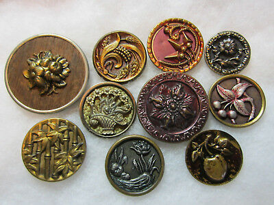 Lot Of Med To Large Victorian Era Metal Picture Buttons/ Floral/ Fruit +