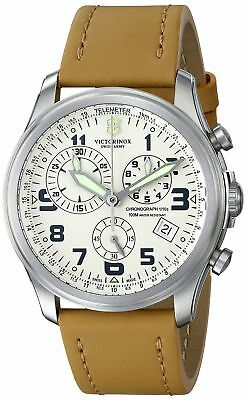 """Victorinox Men's 241579 """"Infantry"""" Stainless Steel Watch with Beige Leather B..."""