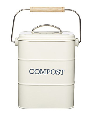 KitchenCraft Living Nostalgia Metal Kitchen Compost Bin, Antique Cream, 16.5 x x