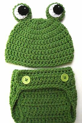 CROCHET BABY  FROG HAT DIAPER COVER SET knit infant toddler  beanie photo prop
