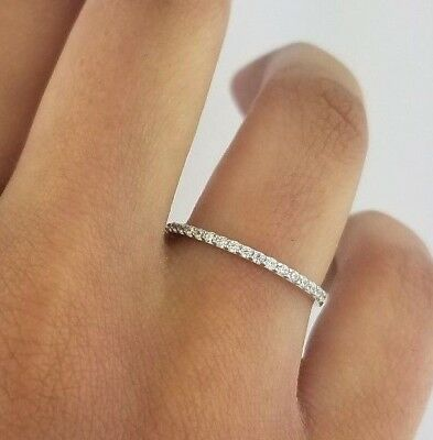 Diamond Anniversary Wedding Band 1.5 mm Fine Thin Stackable Ring 14k White Gold