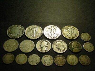 Lot Of (18) Junk, All Silver, Obsolete, Us, Coins