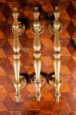 LOVELY TRIO (3) Vintage Solid Brass Door Drawer Window Pull Handles Knobs - WOW!