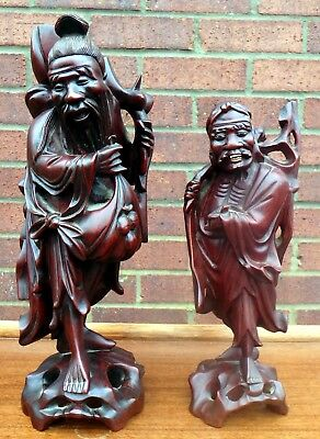 2 Chinese antique Qing Dynasty Victorian carved solid rosewood figures wise men