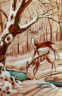 Spotted Deer & Stag Drinking Icy Stream Side Snowy Forest Vtg XMAS Card 1950's