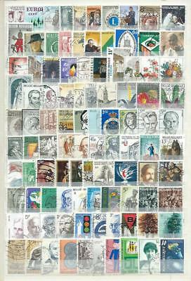 Belgium : Collection..2 Album Pages With 200 Different Modern Used Stamps