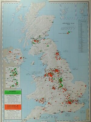VINTAGE LARGE MAP of BRITAIN HOSIERY TAILORING & DRESSMAKING EMPLOYMENT EXPORTS