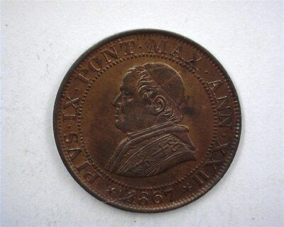Papal States 1867-R 1/2 Soldo  Gem Uncirculated  Rb  Km #1371