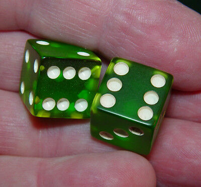 Vintage Pair of Green Apple Catalin,  Bakelite Dice Approximately 9/16""