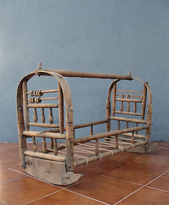 Antique Wooden Cradle Hand Carved Crib Rocking Baby Bed early 1900's Collectible