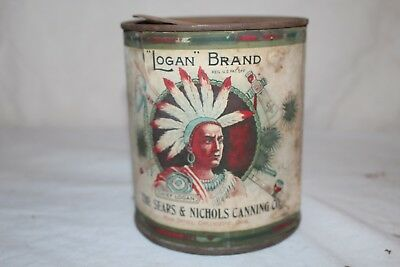 Vintage 1920's Logan Brand Canned Spinach Vegetable Metal Can Sign W/Indian
