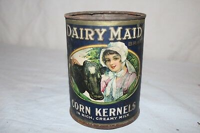 Vintage 1918 Dairy Maid Canned Corn Kernels Vegetable Metal Can Sign