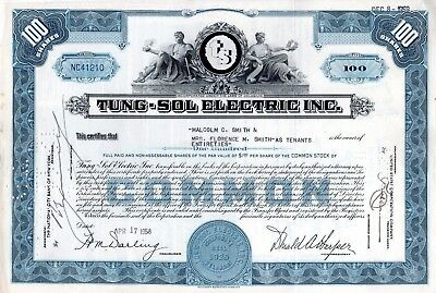 Tung-Sol Electric Incorporated - Electronics Supply - 1958 Stock Certificate