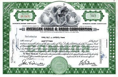 American Cable & Radio Corporation 1950's-1960's Stock Certificate
