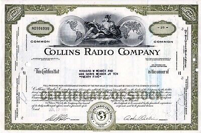 Collins Radio Company of Iowa - Electronics Firm 1968 Stock Certificate - olive