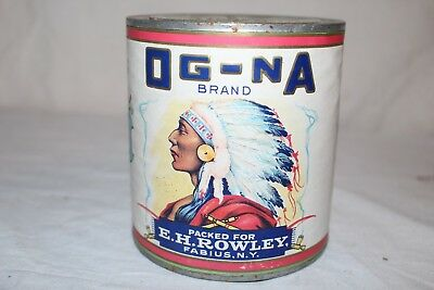 Vintage 1920's Brand Og-Na Canned Tomatoes Vegetable Metal Can Sign W/Indian