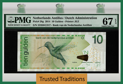 "TT PK 28g 2014 NETHERLANDS ANTILLES 10 GULDEN ""BIRD"" PMG 67 EPQ SUPERB GEM UNC!"